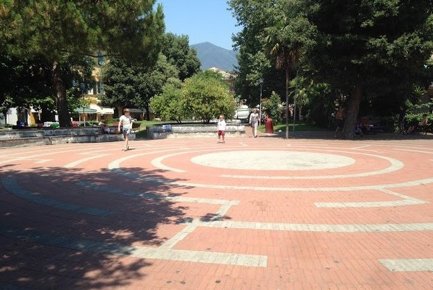 torv, labyrint, boldbane, park, mødested